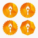 Torch flame sign icon. Fire symbol. Torch flame sign icon. Fire flaming symbol. Triangular low poly buttons with flat icon. Vector Royalty Free Stock Photo