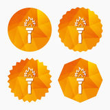 Torch flame sign icon. Fire symbol. Torch flame sign icon. Fire flaming symbol. Triangular low poly buttons with flat icon. Vector Stock Photography