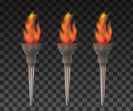 Torch With Flame. Flame and Torch realistic Royalty Free Stock Photos