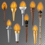 Torch flame vector flaming torchlight or lighting flambeau symbol of achievement torching with burned fireflame 3d. Realistic illustration on background vector illustration