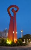 Torch of Friendship. SAN ANTONIO, TX - AUG 13: The Torch of Friendship Statue in San Antonio, Texas on August 13, 2011. The 65' tall steel sculpture was Stock Photo