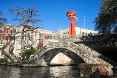 Torch of Friendship landmark seen from river side. January 3, 2016 San Antonio, Texas:the Torch of Friendship landmark seen from the river walk Stock Photo