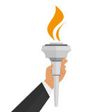 Torch in hand. Vector torch icon in hand. Hot flame, power flaming, heat and liberty, victory success, glow triumph illustration Royalty Free Stock Photo