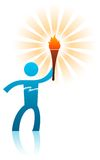 Torch holder. Blue figure of man holding a torch Stock Photos