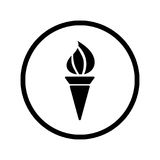 Torch Icon in Circle line - vector iconic design Stock Images