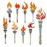 Torch icon sketch Royalty Free Stock Images