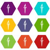 Torch icons set 9 vector. Torch icons 9 set coloful isolated on white for web Stock Image