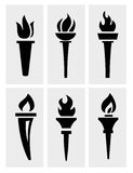 Torch icons set Royalty Free Stock Images