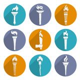 Torch Icons Set. Fire glowing flame retro winner torch icons set isolated vector illustration Royalty Free Stock Photography