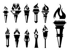 Torch icons set Stock Photo