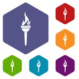Torch icons set hexagon. Isolated vector illustration Stock Photos