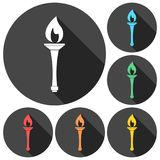 Torch icons set with long shadow.  Royalty Free Stock Photo