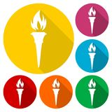 Torch icons set with long shadow Royalty Free Stock Image