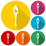 Torch icons set with long shadow. Vector icon Royalty Free Stock Photography