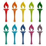 Torch icons set. Vector icon Stock Images