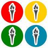Torch icons set Stock Images
