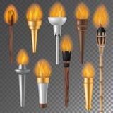 Torch il simbolo ardente della torcia di vettore della fiamma o del flambeau di illuminazione del risultato che torching con il f illustrazione vettoriale