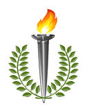 Torch with laurel wreath. Stock Photos