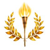 Torch And Laurel Wreath. Realistic fire torch and gold laurel wreath victory and success concept vector illustration Stock Photography