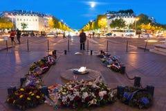 Torch light under the Arc de Triomphe. Paris, France Stock Image