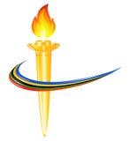Torch mit den Farben der fünf Kontinente vektor abbildung