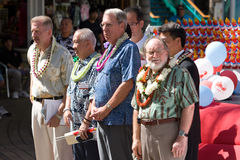 Torch of Peace - Rep of China Taiwan Centennial 1. R-L Hawaii Governor Neil Abercrombie, Raymond Burghardt, Chairman of the American Institute in Taiwan, Calvin Stock Image