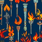 Torch sketch seamless pattern. Fire glowing flame retro torches seamless pattern vector illustration Royalty Free Stock Photo