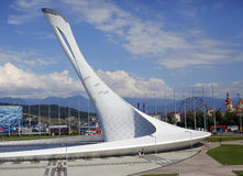 Torch at the stadium in Sochi Stock Image
