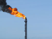 Torch system on an oil field Stock Image