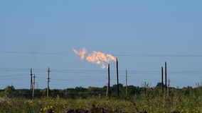 Torch system on an oil field stock footage