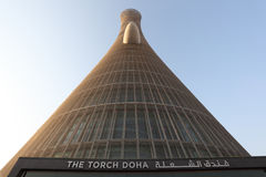 The Torch Tower in Doha, Qatar. The Torch Tower in Doha Sports City Complex, Qatar. Photo taken at 7th of January 2012 royalty free stock photography