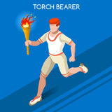 Torchbearer Relay Running Men Summer Games Icon Set.Speed Concept.3D Isometric Athlete.Sporting Competition Royalty Free Stock Image