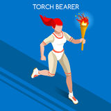 Torchbearer Relay Running Women Summer Games Icon Set.Speed Concept.3D Isometric Athlete.Sporting Competition Stock Image