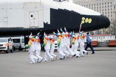 Torchbearers in the Gorki park in Moscow Stock Image