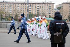 Torchbearers in the Gorki park in Moscow Stock Photo