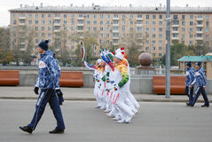 Torchbearers in the Gorki park in Moscow Stock Photography