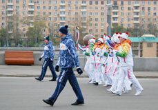 Torchbearers in the Gorki park in Moscow Royalty Free Stock Photography