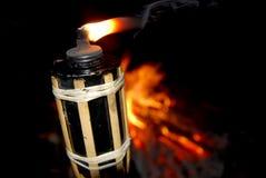 Torche flamboyante en bois Photo libre de droits