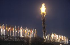 Torche olympique, Salt Lake City, Utah, Jeux Olympiques d'hiver, 2002 Image libre de droits