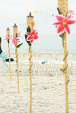 Torches at the beach Royalty Free Stock Photography