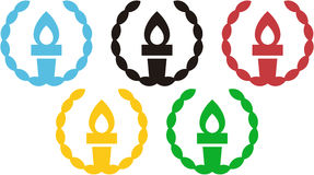 5 Torches inside an olive wreath evoking the Olympic Rings Stock Photography