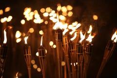 Torches la nuit Photo stock