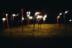 Torches la nuit dans l'herbe avec les flammes jaunes et les points culminants image stock