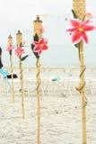 Torches à la plage Photographie stock libre de droits