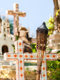 Torches on Mexican graveyard Stock Image