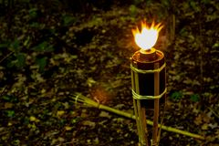 Torches at night with yellow flames and highlights royalty free stock photos