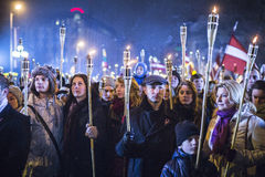 Torchlight procession Stock Images