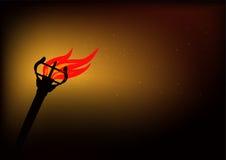 Torcia ardente nella nerezza illustrazione di stock