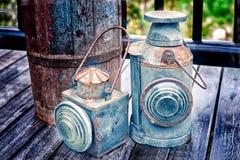 Torcia d'annata su vecchia struttura di legno del pavimento Fotografie Stock Libere da Diritti