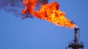 Torcia del gas del fuoco della raffineria stock footage